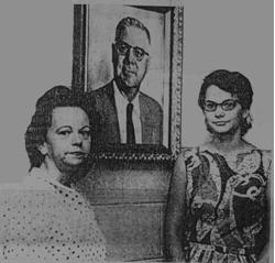 Zephyrhills News photo: A portrait of Arleis E. Ross, Principal of West Elementary School from its founding in 1959 until 1967, was unveiled in a ceremony in the school lobby. Standing beneath the picture were Miss Peggy Padgett, left, second grade teacher, who spearheaded the drive to raise funds for the memorial, and Miss Susan Gill, right, fifth grade teacher who was chairman of the committee which obtained the oil-tinted photograph. Mrs. Ross, Dade City, was on hand for the unveiling ceremony.