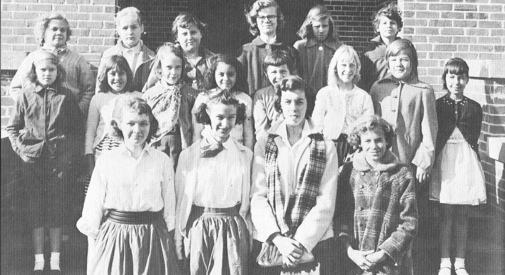 1957 4-H Girl's 4-H Club at Zephyrhills High School-Barbra Higginson, Laura Higginson, Ann Smith, Leslie Smith; second row-Brenda Sue Brown, Myrtis Nelson, Vickie Hopkins, Patricia Jackson, Nancy Overhauls, Elaine Howard, Mary Ann Trebour, Patricia Chancey; third row-Gail Hill, Judy Trebour, Fay Gaskin, Ellen Barefoot, Vonceil Smith, Carol Shinner. Photo from ZHS.