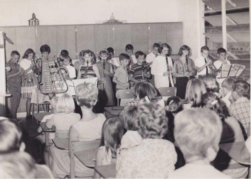 Melodica Class at WZES in 1965 directed by Ms. Alice Zimmerman. Back row - David Calhoun, Tim Cleary, Steve Massey, Johnny Ray White, Dales Myers, Joey Street, Mike Reagan, Rhonda Duncan, Jan McCreadie, Teresa Quick, Cole Skinner. Front row - Alton Osborne, Vickie Griffin, Becky Williams, Lynette McCreadie, Eugenia Hall.