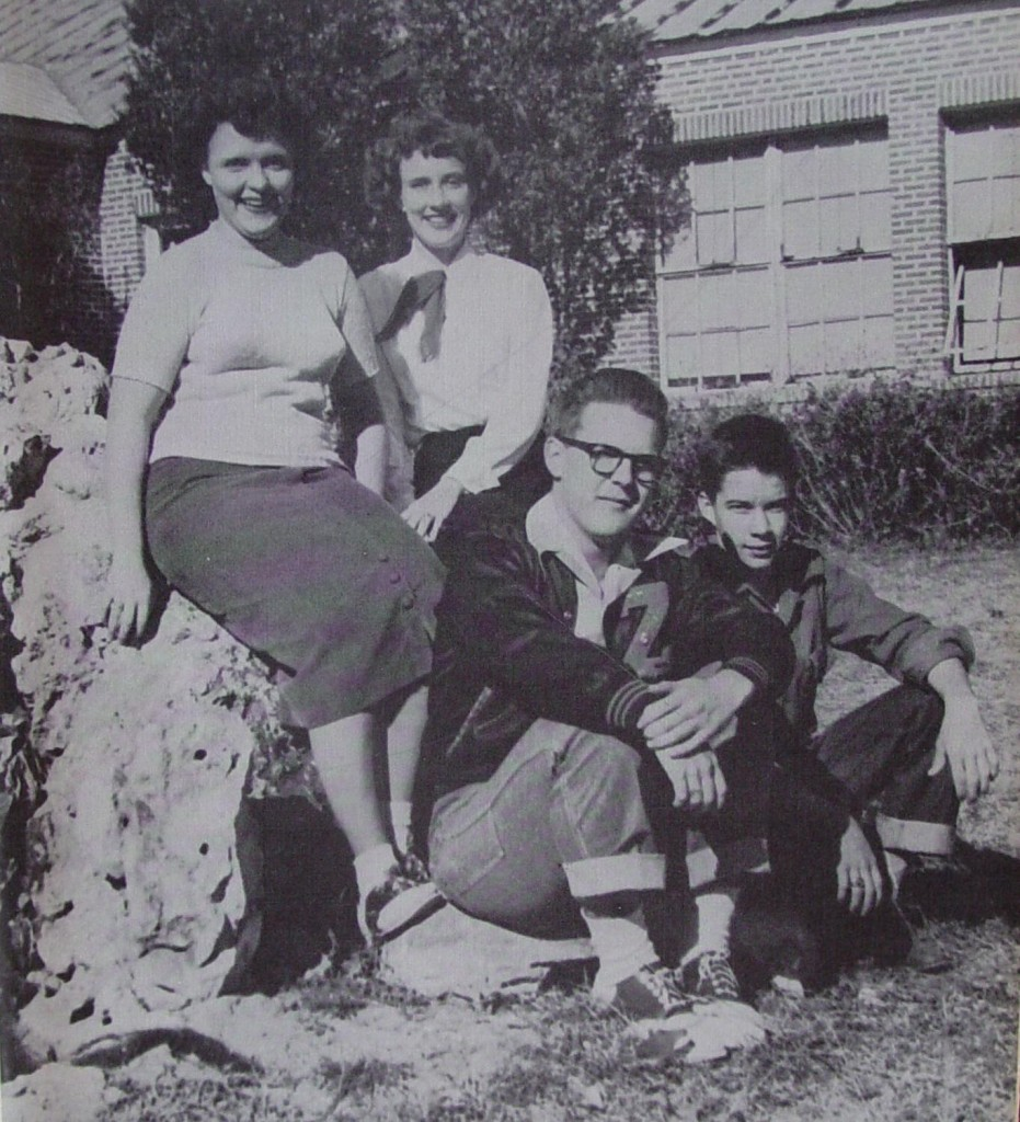 A photo from the 1951 Zephilsco shows the ZHS school pond with students, Joyce Baker, Mary Ann Vestal, Jack Lamb and Rex Gilbreath.