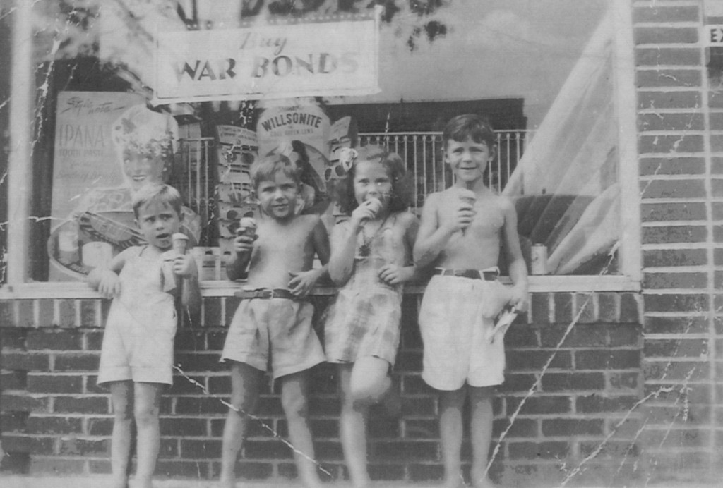 The Miller children stand in front of the landmark Neukom's Drug Store which posted a sign announcing, 'War Bond Sales.' The photo taken in 1945 showed Larry, Glenn, Nancy and Craig Miller enjoying a refreshing ice cream cone in downtown Zephyrhills. Feel the home-town warmth!