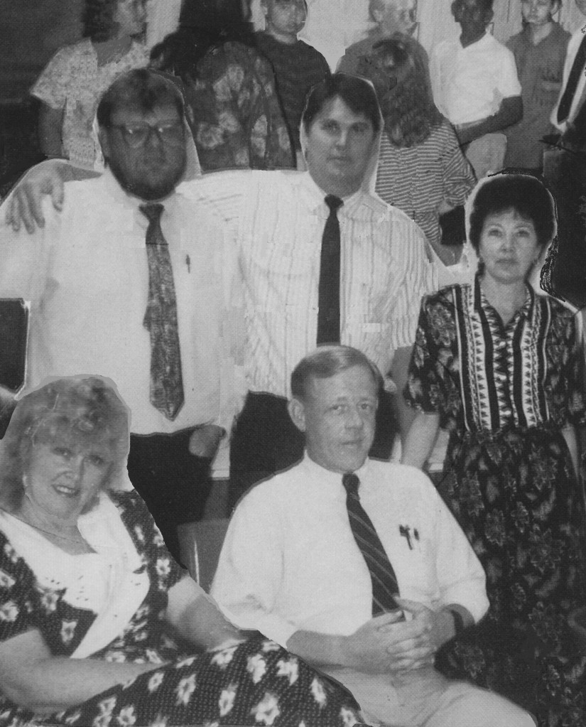 Pricher's teaching team in 1991-92-front row-Jean Mitchell; Team Leader-Jerry Pricher; back row-Skip Riley, David Bailey and Anne Lessard
